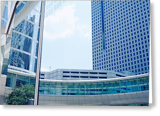 Commercial Building Greeting Cards - Low Angle View Of Skyscrapers, Enron Greeting Card by Panoramic Images
