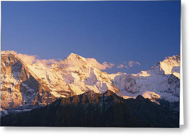 Mountain Greeting Cards - Low Angle View Of Snowcapped Mountains Greeting Card by Panoramic Images