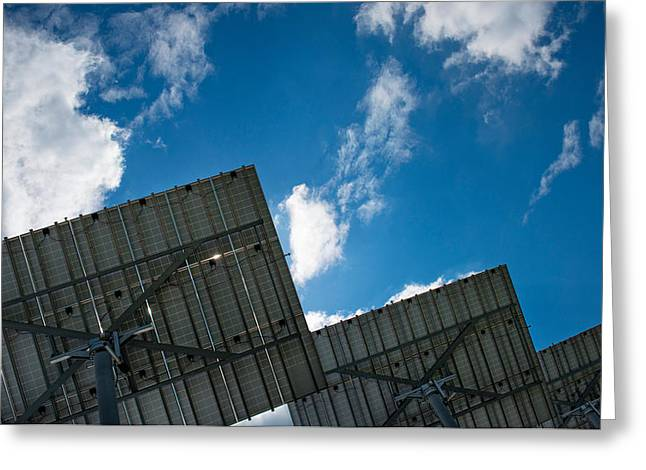 Alternative Energy Greeting Cards - Low Angle View Of Solar Panels Greeting Card by Panoramic Images