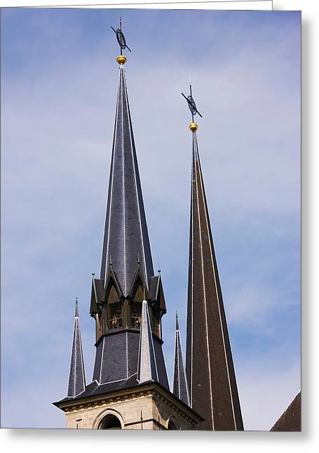 Luxembourg Greeting Cards - Low Angle View Of Spires Of The Notre Greeting Card by Panoramic Images