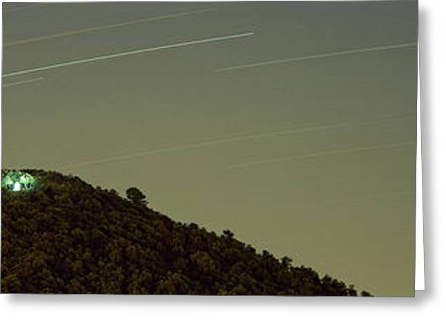 On Top Of Greeting Cards - Low Angle View Of Star Trails Greeting Card by Panoramic Images