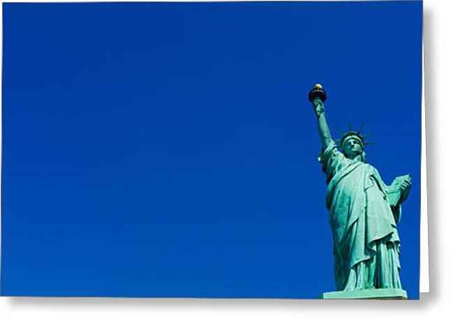 Statue Greeting Cards - Low Angle View Of Statue Of Liberty Greeting Card by Panoramic Images