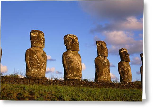 Civilization Greeting Cards - Low Angle View Of Statues In A Row Greeting Card by Panoramic Images