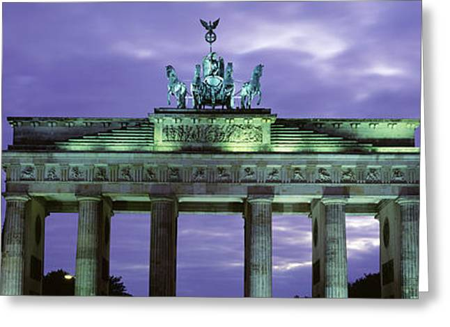 Neo Greeting Cards - Low Angle View Of The Brandenburg Gate Greeting Card by Panoramic Images