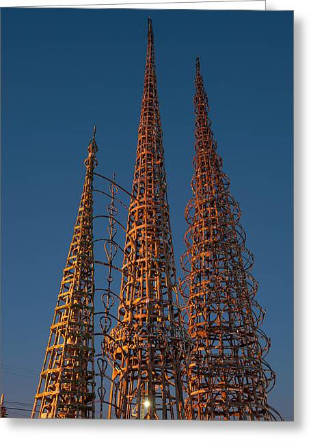 Watts Greeting Cards - Low Angle View Of The Watts Tower Greeting Card by Panoramic Images