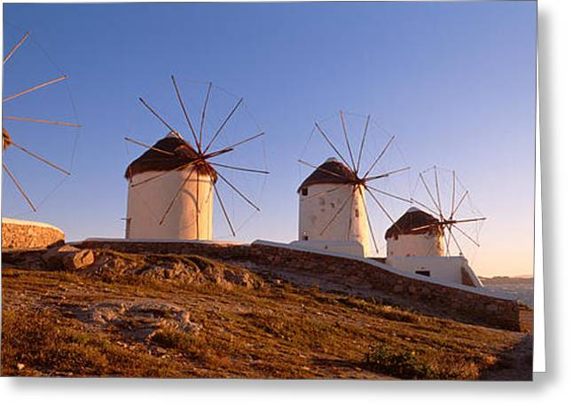 Cyclades Greeting Cards - Low Angle View Of Traditional Greeting Card by Panoramic Images