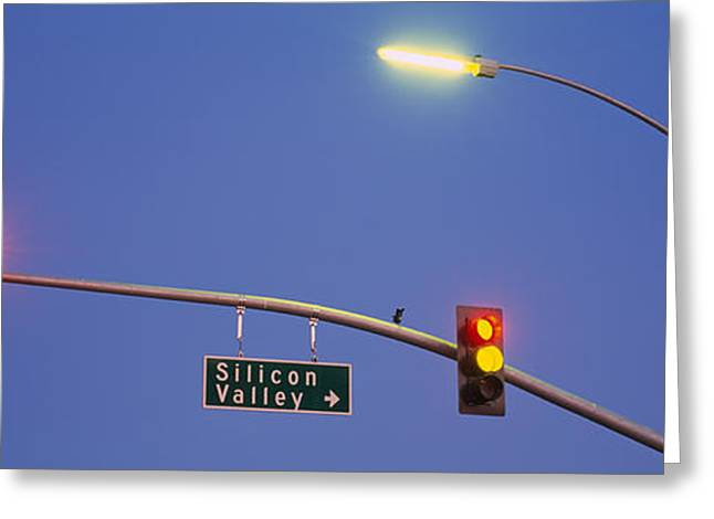 Silicon Greeting Cards - Low Angle View Of Traffic Lights Greeting Card by Panoramic Images