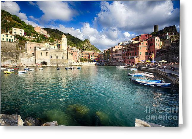 Boats In Harbor Greeting Cards - Low Angle View of Vernazza  Harbor Greeting Card by George Oze