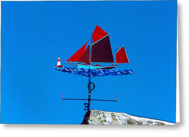 Low Angle View Of Weather Vane, Morgat Greeting Card by Panoramic Images