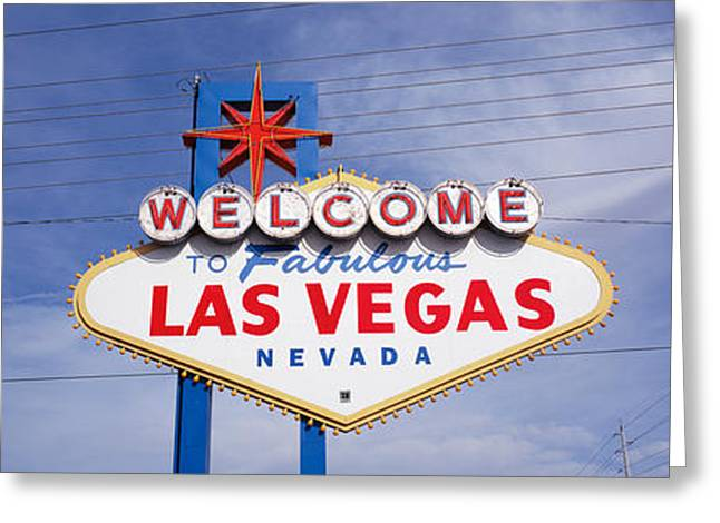 Western Script Greeting Cards - Low Angle View Of Welcome Sign, Las Greeting Card by Panoramic Images