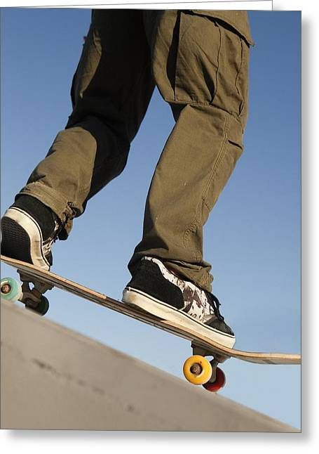 Running Shoe Greeting Cards - Low Angle View Of Young Male Greeting Card by Marcos Welsh
