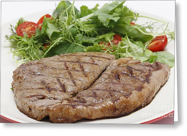 Salad Mix Greeting Cards - Low carb steak and salad closeup Greeting Card by Paul Cowan