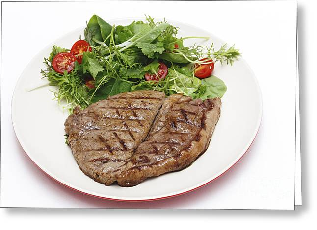Salad Mix Greeting Cards - Low carb steak and salad Greeting Card by Paul Cowan