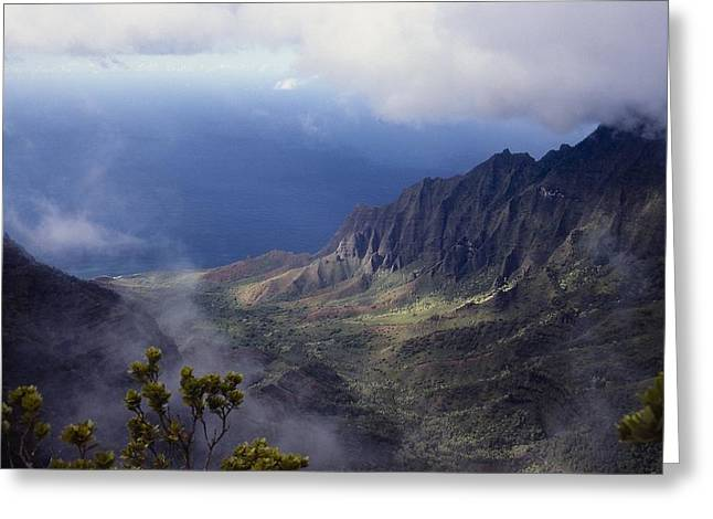 Ocean Vista Greeting Cards - Low Clouds over a Na Pali Coast Valley Greeting Card by Stuart Litoff
