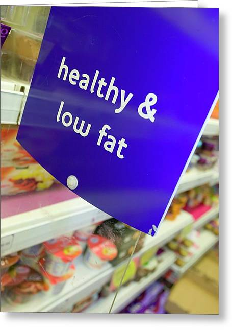 Low Fat Food In A Supermarket Greeting Card by Ashley Cooper