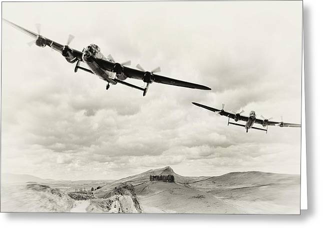 Lancaster Bomber Greeting Cards - Low Lancs Greeting Card by Peter Chilelli