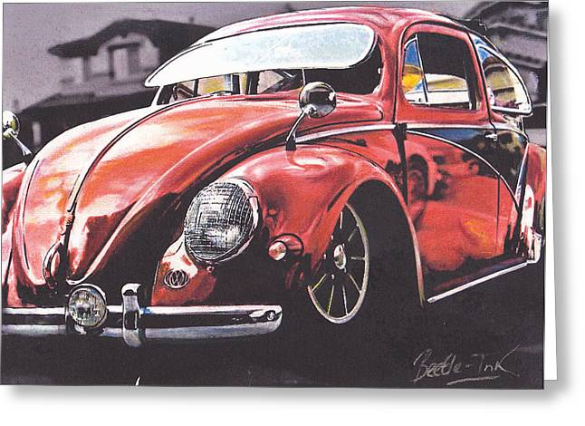 Vw Beetle Pastels Greeting Cards - Low Ride Greeting Card by Art Haus Ink