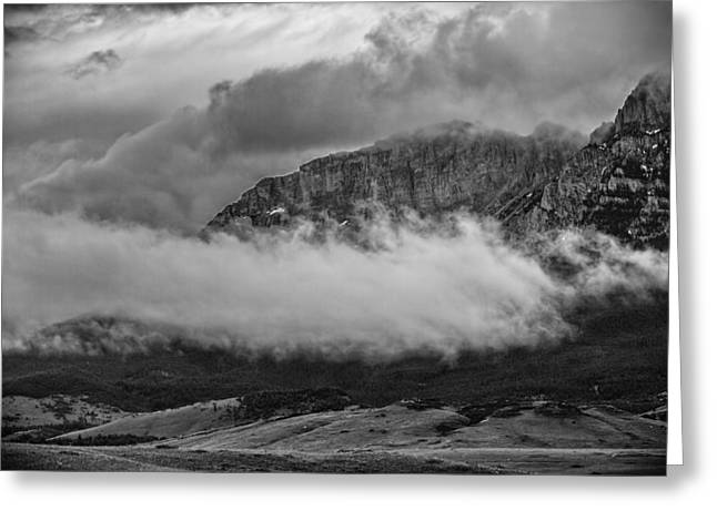 Black Lodge Greeting Cards - Low Storm Clouds At The Mountain Greeting Card by Thomas Young
