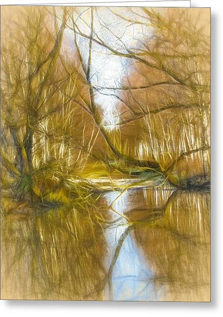 Reflections In River Digital Art Greeting Cards - low sun IMP 1 nov 2014 Greeting Card by Leif Sohlman