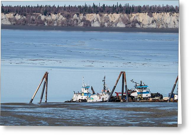 Tidal Photographs Digital Art Greeting Cards - Low Tide Anchorage Greeting Card by William Fields