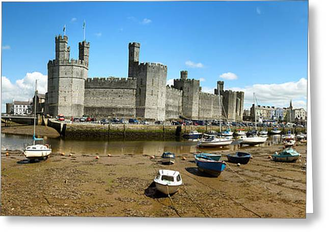 Dingy Greeting Cards - Low tide at Caernarfon Greeting Card by Jane Rix