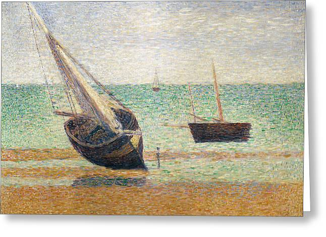 Technique Greeting Cards - Low Tide at Grandcamp Greeting Card by Georges Pierre Seurat