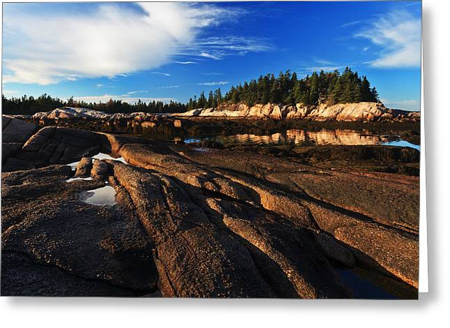 Ocean Art Photography Greeting Cards - Low Tide at Great Wass Greeting Card by Bill Caldwell -        ABeautifulSky Photography