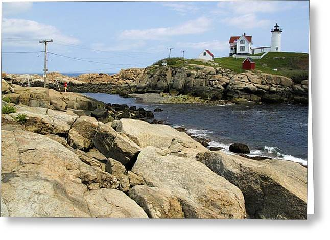 Cape Neddick Lighthouse Greeting Cards - Low Tide at Nubble Greeting Card by Robert McCulloch