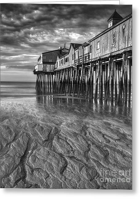 Storm Prints Digital Art Greeting Cards - Low Tide at Orchard Beach Black and White Greeting Card by Jerry Fornarotto