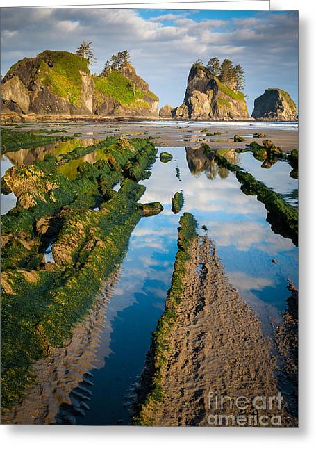 Shi Greeting Cards - Low tide at Point of the Arches Greeting Card by Inge Johnsson
