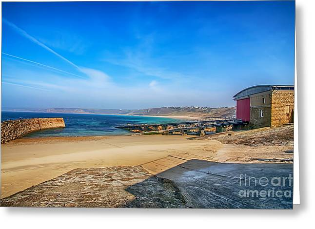 Cape Cornwall Greeting Cards - Low tide at Sennen Cove 2 Greeting Card by Chris Thaxter