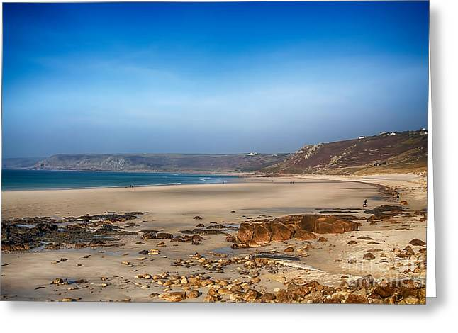 Cape Cornwall Greeting Cards - Low tide at Sennen Cove Greeting Card by Chris Thaxter