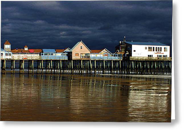 Maine Beach Greeting Cards - Low Tide At The Pier Greeting Card by Karen Anderson