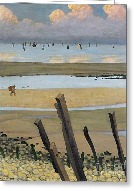 Calm Seas Greeting Cards - Low Tide at Villerville Greeting Card by Felix Edouard Vallotton