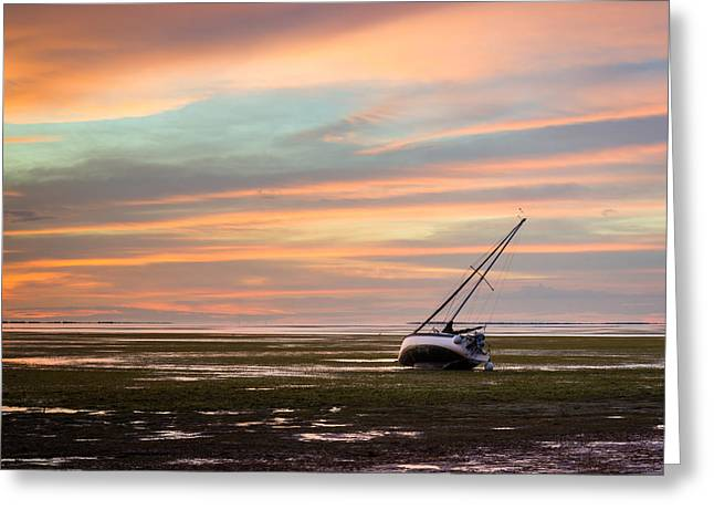 Sailboat Art Greeting Cards - Low Tide Greeting Card by Clay Townsend