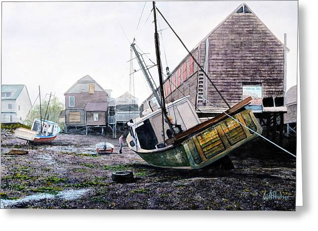 Maine Lighthouses Greeting Cards - Low Tide in Lubec Greeting Card by Bill Hudson