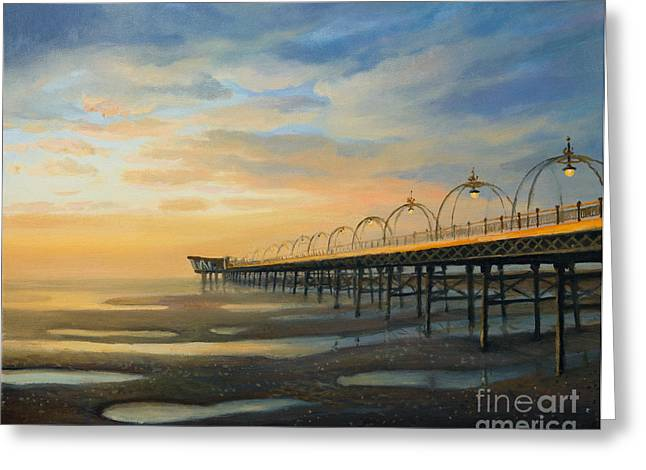 Oil Lamp Greeting Cards - Low Tide in Southport Greeting Card by Kiril Stanchev