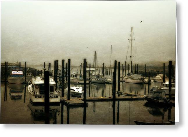 Foggy Beach Greeting Cards - Low Tide Greeting Card by Michelle Calkins