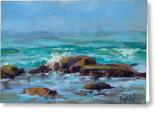 Surfing Art Greeting Cards - Low Tide Morning Greeting Card by Fay Wyles