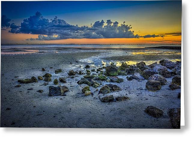 Sunrise On Beach Greeting Cards - Low Tide on the Bay Greeting Card by Marvin Spates