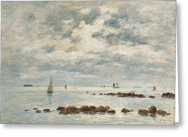 Blue Sailboat Greeting Cards - Low Tide Saint Vaast la Hougue Greeting Card by Eugene Louis Boudin