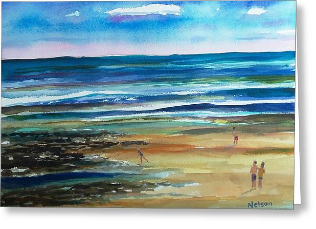 Scott Nelson Paintings Greeting Cards - Low Tide Wells Beach Maine Greeting Card by Scott Nelson