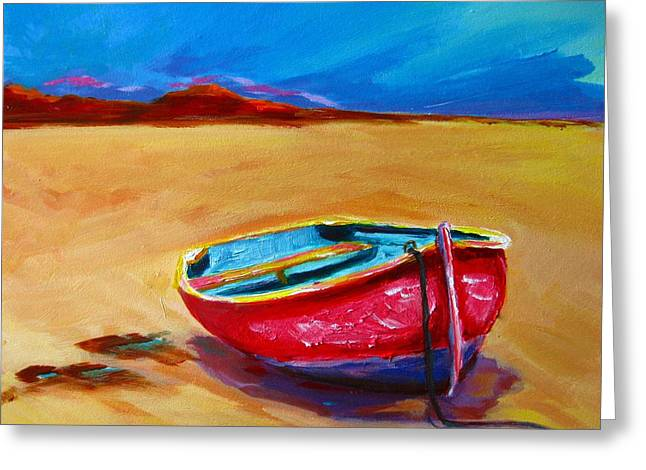 Fineartamerica Greeting Cards - Low Tides - Landscape of a red boat on the beach Greeting Card by Patricia Awapara