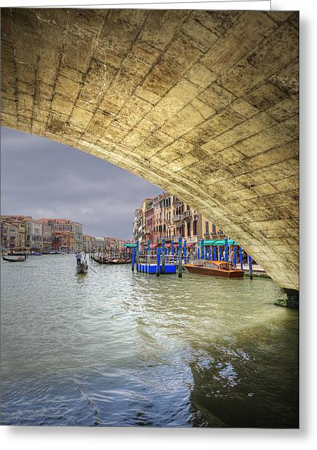 Italian Sunset Greeting Cards - Low view through Rialto Bridge along Grand Canal Venice Italy Greeting Card by Matthew Gibson