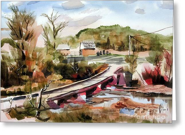Low Country Watercolor Greeting Cards - Low Water Bridge Across Stouts Creek Greeting Card by Kip DeVore