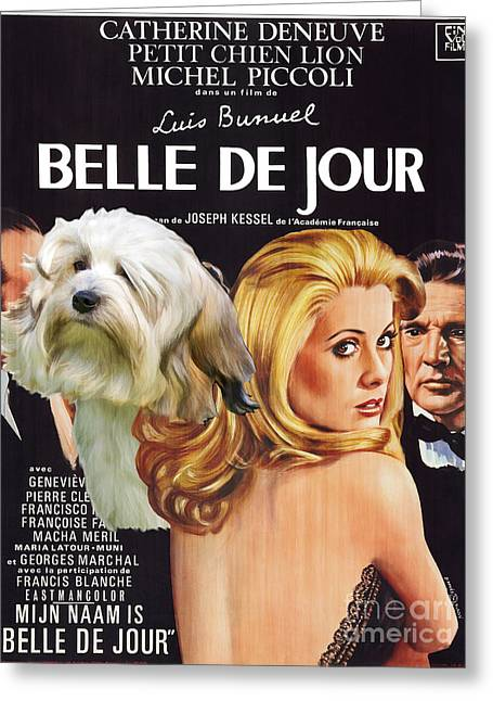 Dog Prints Greeting Cards - Lowchen Art - Belle de Jour Movie Poster Greeting Card by Sandra Sij