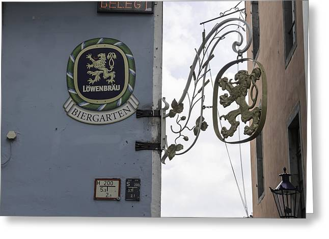 Bier Greeting Cards - Lowenbrau Biergarten Sign Cologne Germany Greeting Card by Teresa Mucha