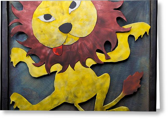 Lions Sculptures Greeting Cards - Lowens Ninja Lion Greeting Card by Chip Vander Wier