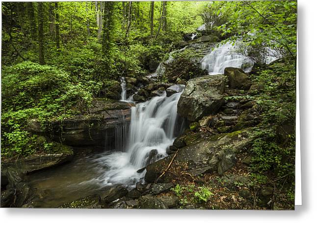 Tennessee Landmark Greeting Cards - Lower Amicalola Falls Greeting Card by Debra and Dave Vanderlaan