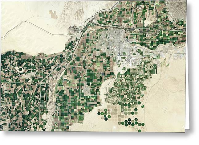 Lower Colorado River Greeting Card by Nasa Earth Observatory